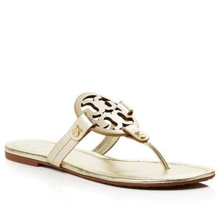 498274cf0 Tory Burch Spark Gold Miller Flip Flop Leather Sandals Size US 7.5 Regular ( M