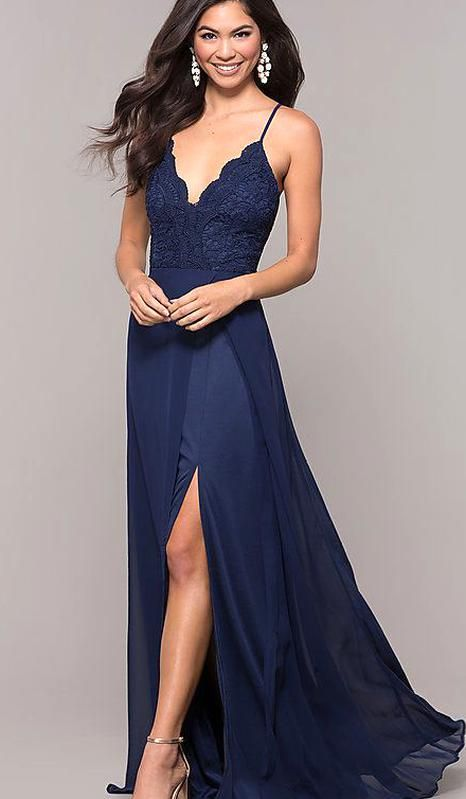 Long Faux-Wrap Embellished Prom Dress - PromGirl