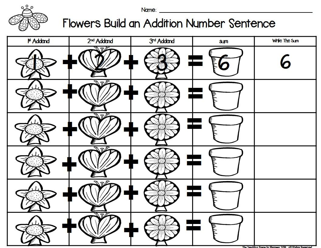 Flowers Build 3 Addend Addition Amp Subtraction Number