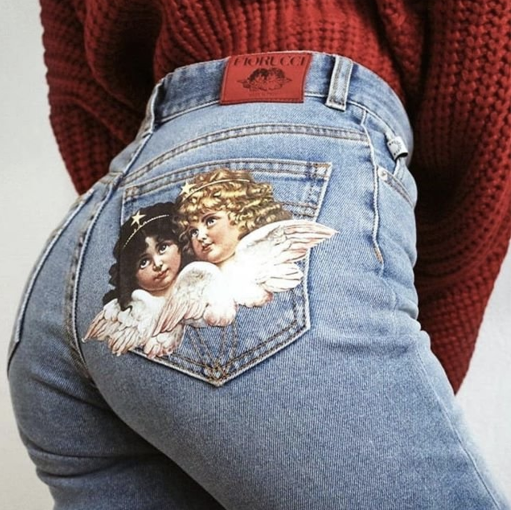 7699a8e9fdb Get your customised jeans in-store today. 39 Brewer St, Soho, London W1F  9UD #Fiorucci #FiorucciAngels