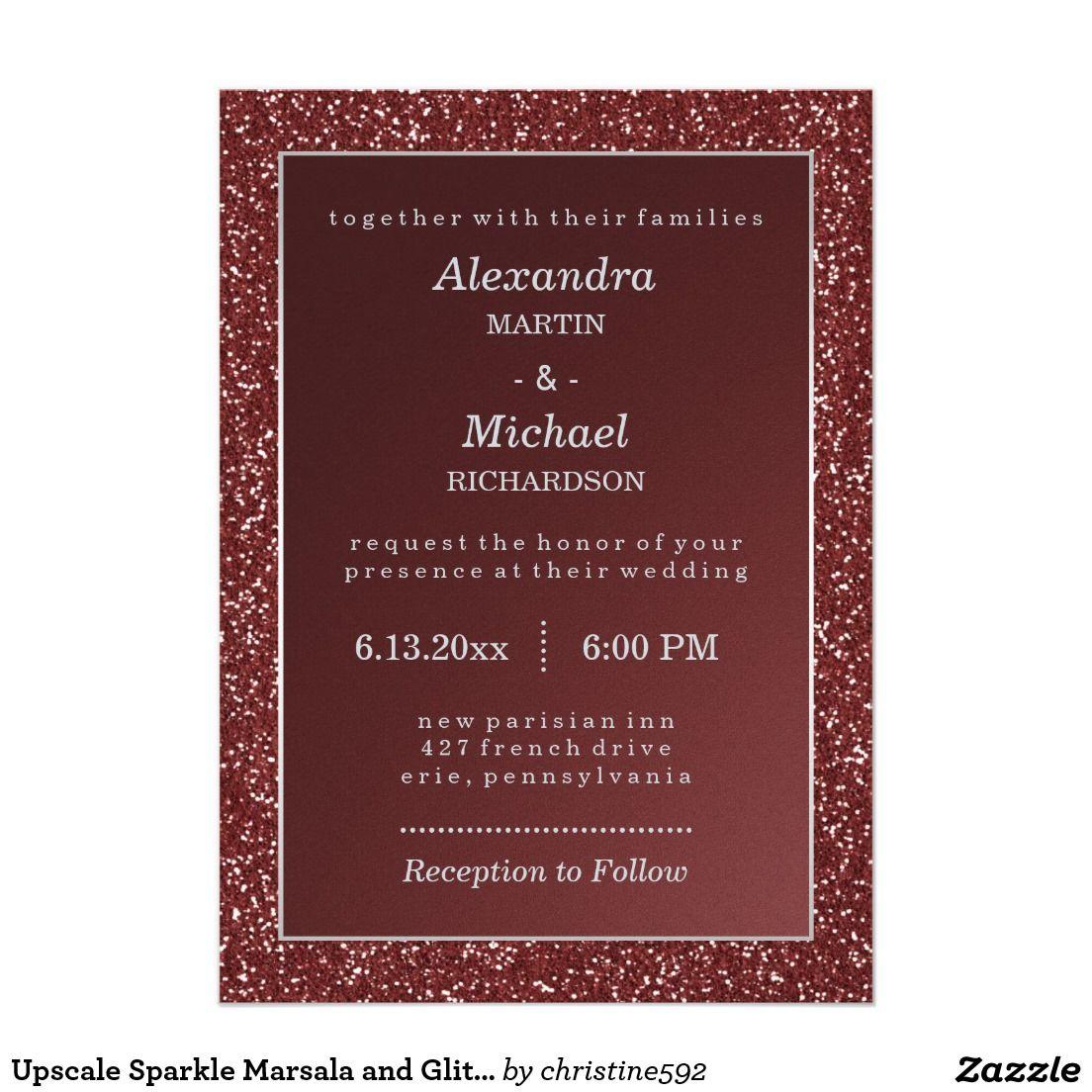 Upscale Sparkle Marsala and Faux Glitter Wedding Invitation ...