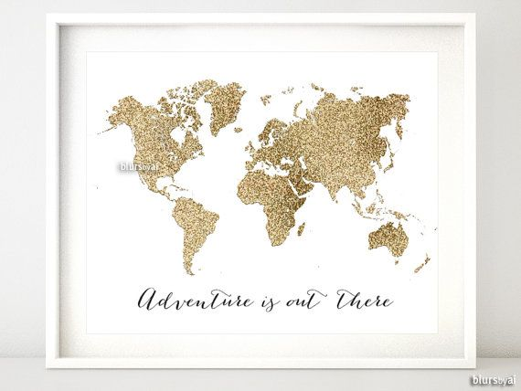 8x10 20x16 printable world map golden glitter map adventure 8x10 20x16 printable world map golden glitter map adventure quote print travel wall art gold print gold wall art gold map gp015d gumiabroncs Gallery