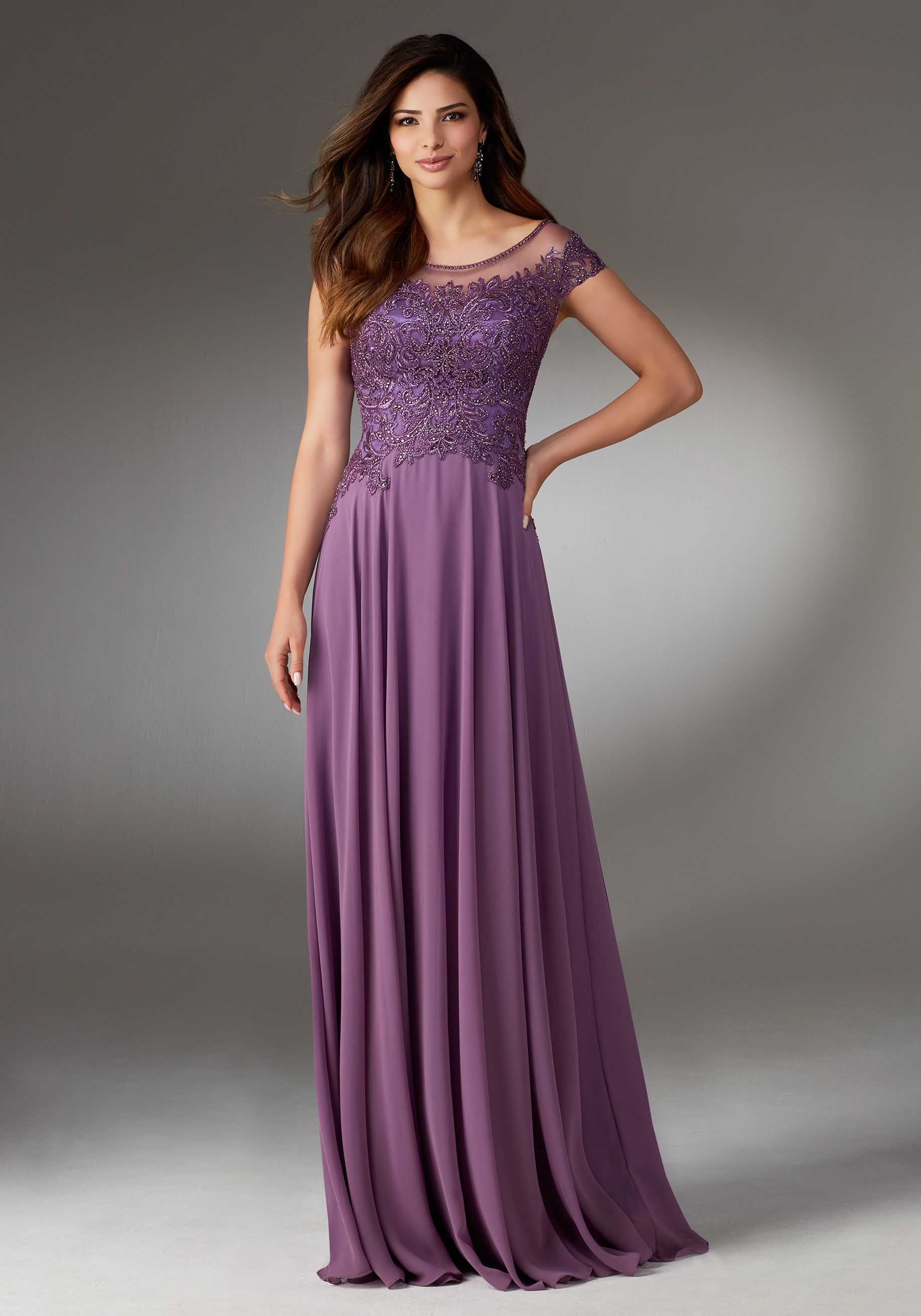 Chiffon Social Occasion Gown with Beaded and Embroidered