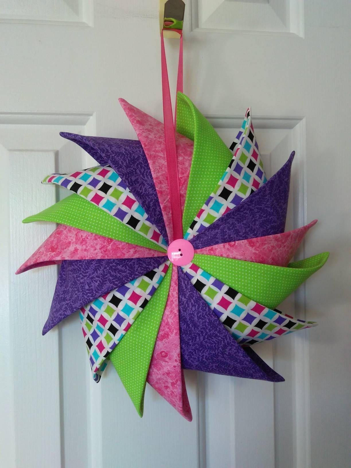 Photo of Folder Fabric Wreath, Easter Wreath, Spring Wreath, Prairie Point Wreath, Pinwheel Wreath, Pastel Decor, Wall Hanging, Door Hanging, Wreath
