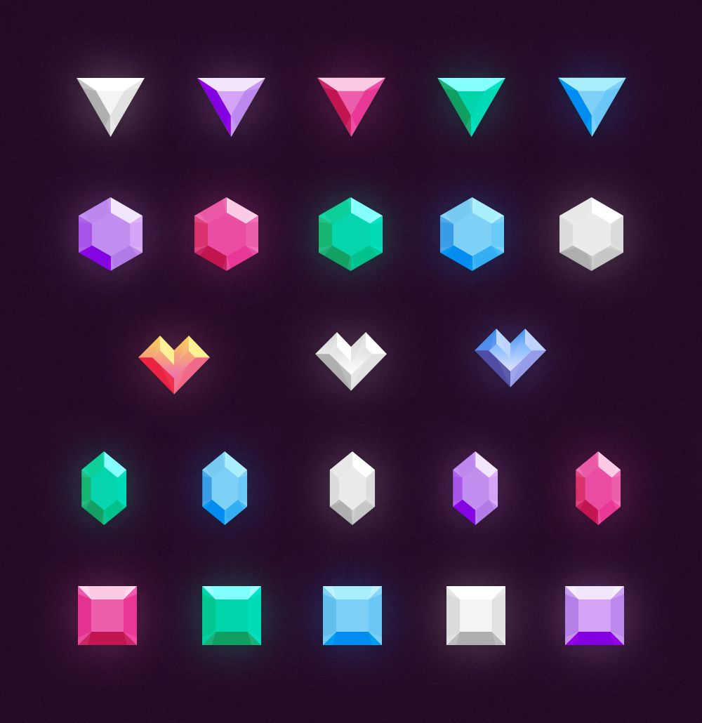 Icons Gems & Diamonds Game design, Game art, Icon