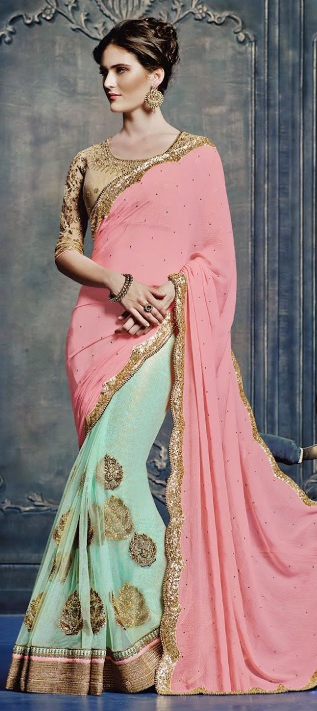 163152: Green, Pink and Majenta color family Embroidered Sarees ...