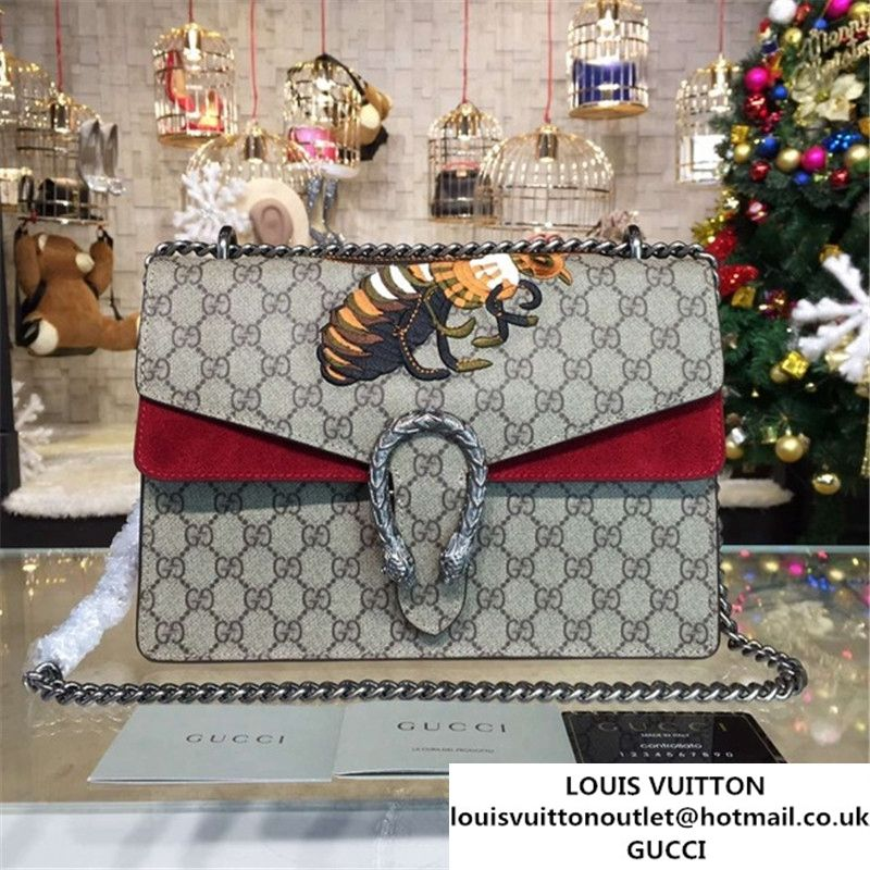 5ccf480826d Gucci Dionysus GG Supreme Shoulder Large Bag with Bee Embroidery Fall  Winter 2016 Collection Burgundy Beige