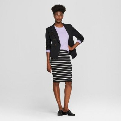 685fa4a704da8 Women s Striped Knit Skirt - A New Day Black Cream Stripe L