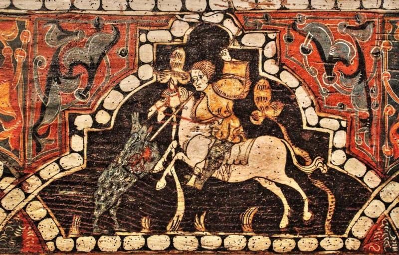 Pintura Mudéjar Sobre Viga De Madera S Xiv Procedente Del Castillo De Curiel De Duero Valladolid Mudejar Vigas De Madera Pinturas Medievales