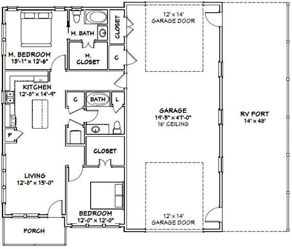 46x48 House -- 2-Bedroom 2-Bath -- 1,157 Sq Ft -- PDF