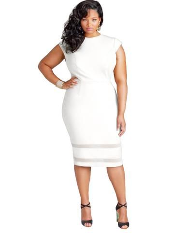 Plus Size Patchwork Sexy Office Dress