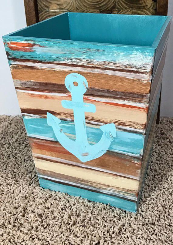 Photo of Beach Lovers Gift, Wastebasket with Anchor, Anchor Bathroom Decor, Bathroom Organization, Beach Decor, Green and Blue, Rustic Look