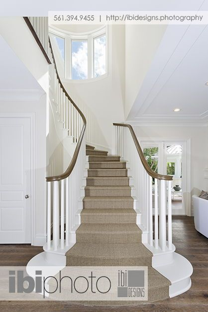 Best A Semi Spiral White Wooden Staircase With Carpet Tread 400 x 300