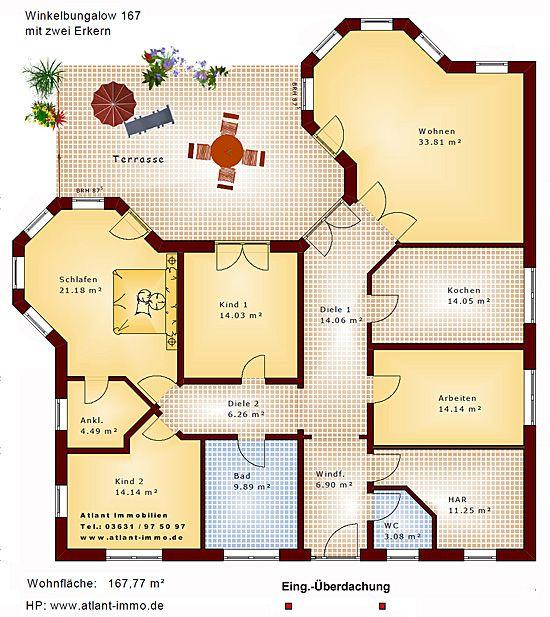 Einfamilienhaus neubau mit erker  Winkelbungalow 167 mit 2 Erkern Einfamilienhaus Neubau Massivbau ...