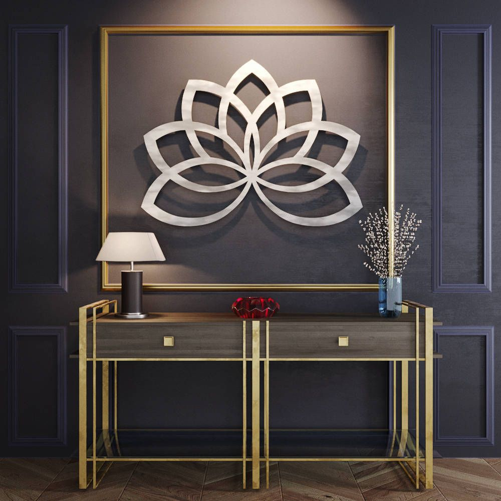 Geometric lotus flower metal wall art metal flower wall art large metal wall sculpture