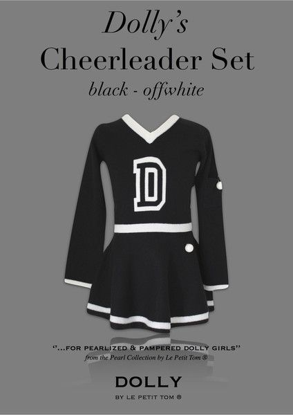 DOLLY by Le Petit Tom ® CHEERLEADER SET black & off-white