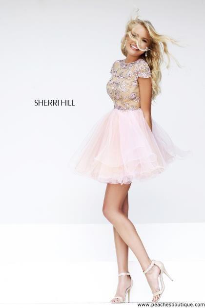 A-Line Nude/Blush Sherri Hill 21304 Short Beaded Homecoming Dresses 2015
