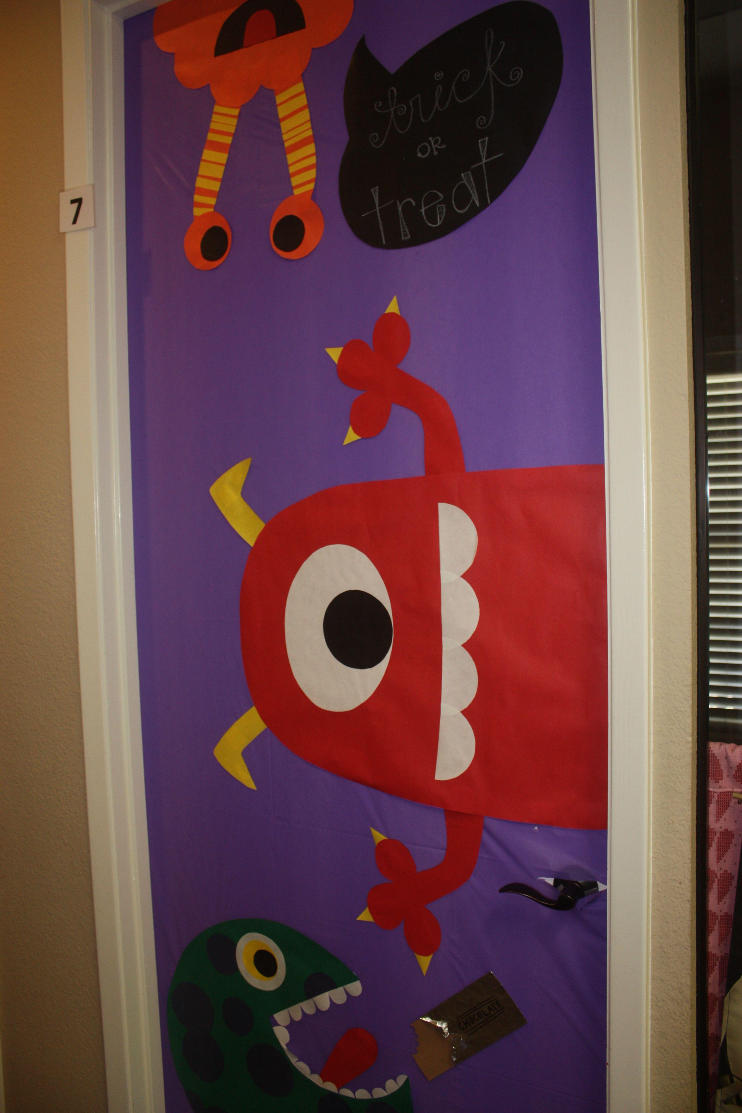 Halloween Door Decorations - One Eyed Monsters Halloween Fun - pinterest halloween door decor