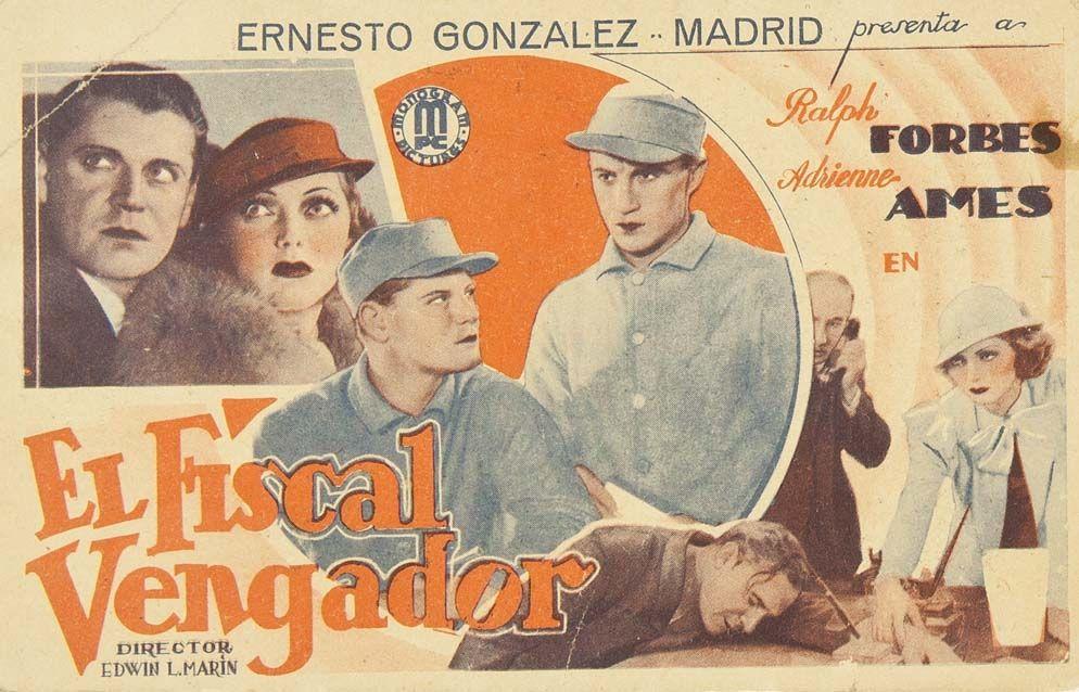 """Programa de mano de cine de la película """"El fiscal vengador"""", estrenada en España en el año 1934"""