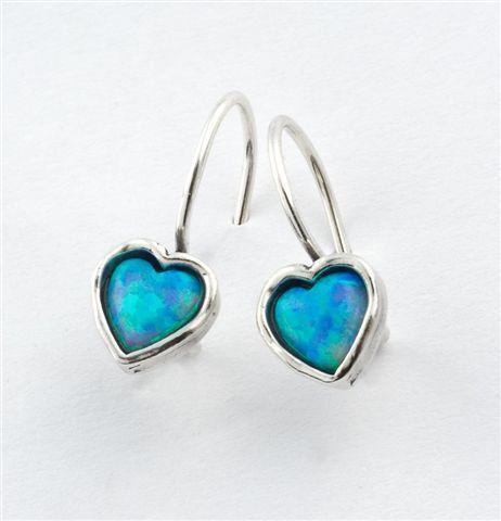 0eaf7330ffdfe HABLOOL ISRAEL Didae Heart Blue Opal Sterling Silver 925 Earrings ...