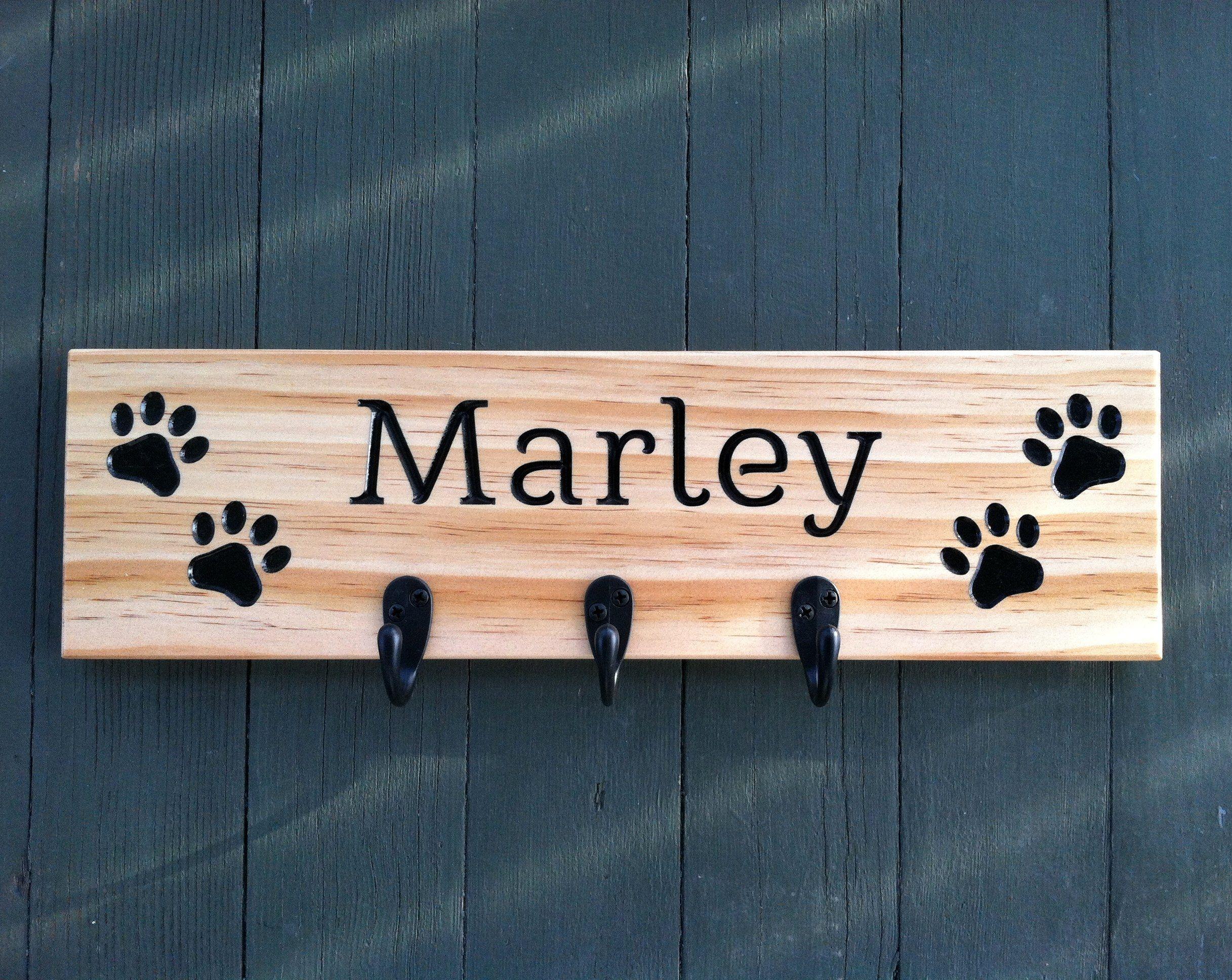Dog Leash Holder Paw Pet Wooden Pet Collar Rack | Dog