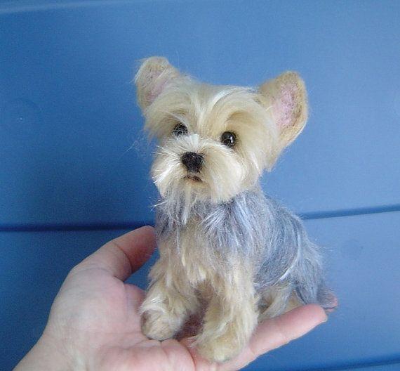 Yorkshire Terrier Custom Pet Portrait Needle Felted Dog Etsy Felt Dogs Felt Animals Needle Felted Dog