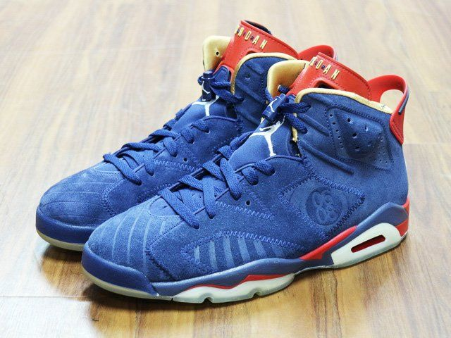 info for d07d9 c11c9 NIKE AIR JORDAN 6 RETRO DOERNBECHER NAVY BLUE RED GOLD 392789 401
