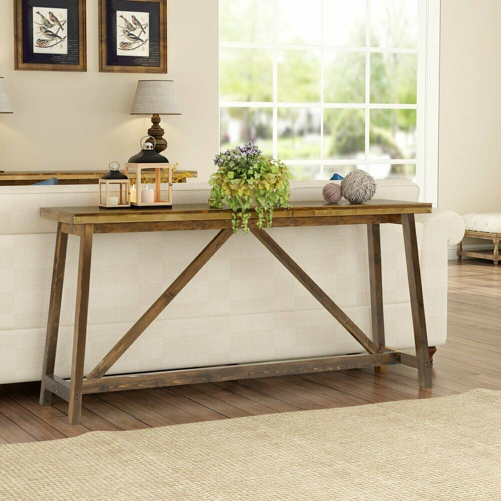 Tribesign Long Skinny Console Table Simple Brown Wooden Entry Table For Entryway Rustic Table Ideas Of Sofa Table Design Long Sofa Table Rustic Sofa Tables
