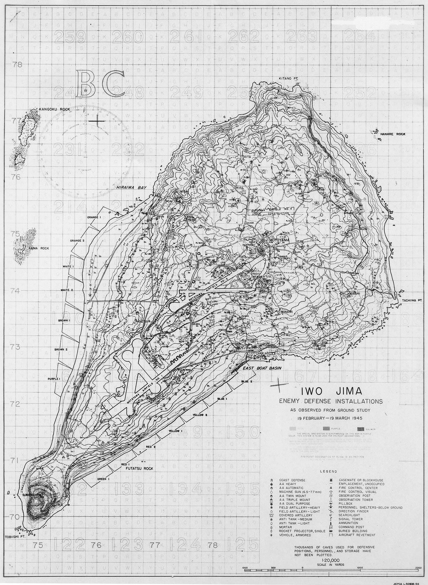 Map Of Iwo Jima Showing Japanese Defensive Positions Noted