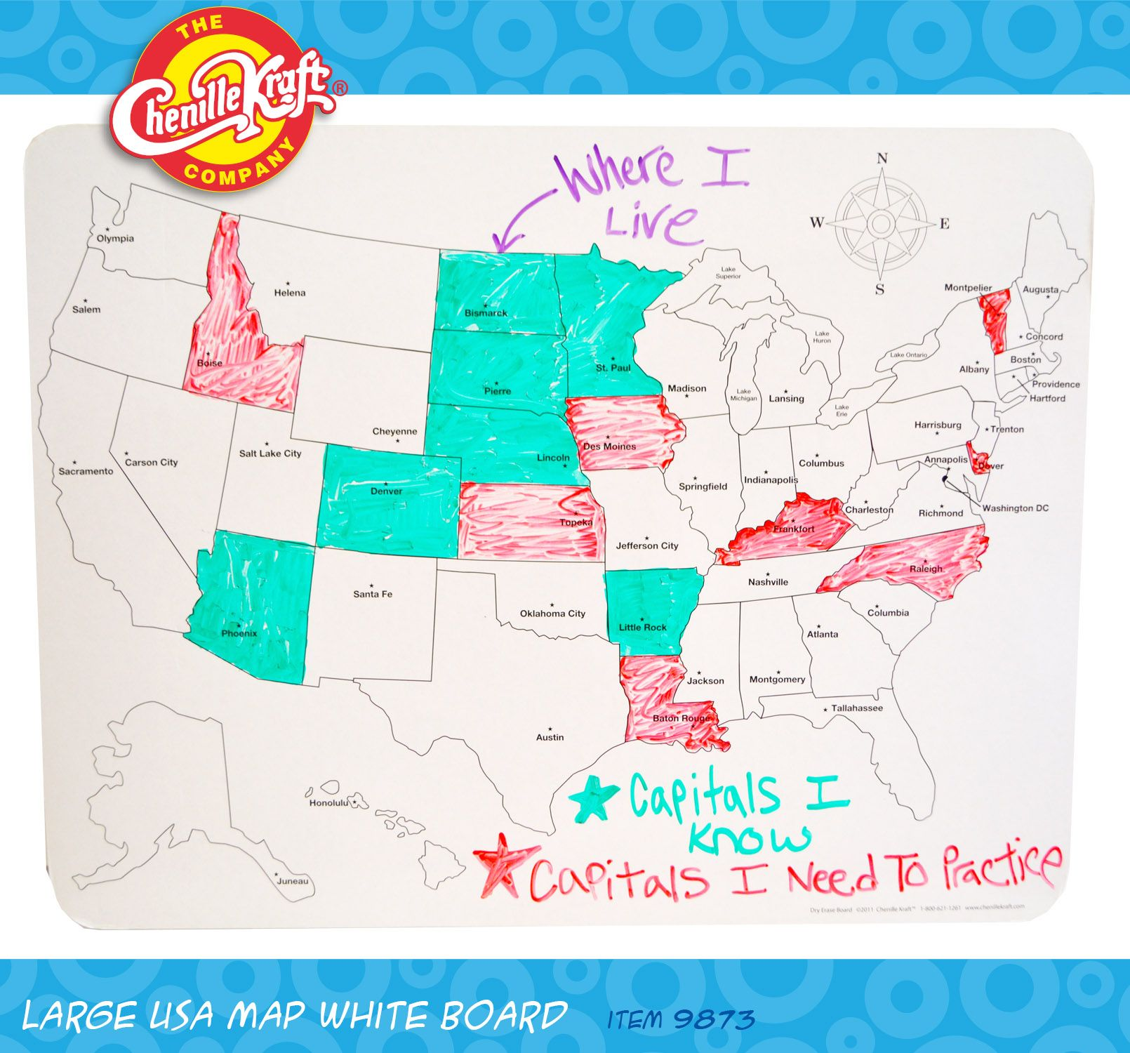 Large USA Map Whiteboard Front A Great Tool To Learn Your - Us map whiteboard