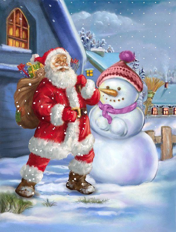 christmas santa claus and snowman 2 sided garden flag - Santa Snowman 2