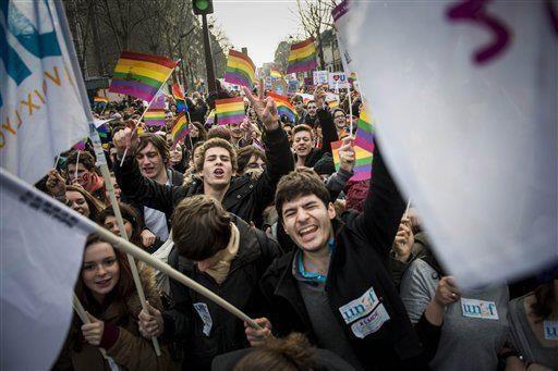 Marcha por el matrimonio igualitario en París
