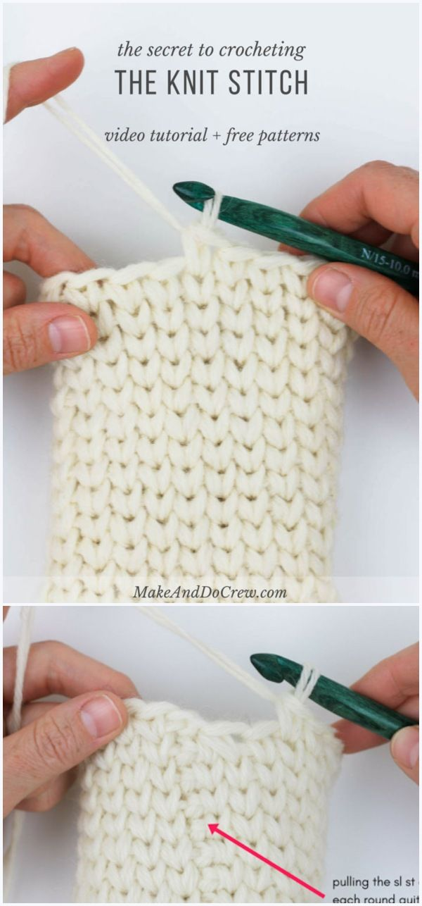 The Knit Stitch Free Crochet Pattern and Video Tutorial #crochetstitches