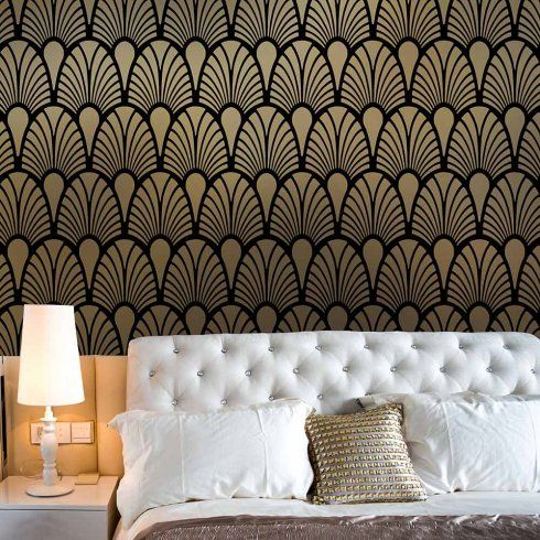 Art Deco Stencils - Glamorous Wall stencils instead of wallpaper ...