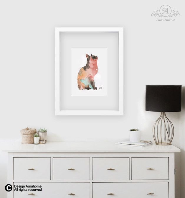 Kot - ręcznie malowana akwarela - watercolor cat - aura-HOME - Obrazy akwarele