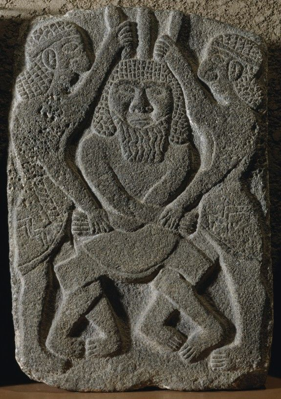 Gilgamesh and Enkidu Slaying, on Humbaba Basalt Relief - from Palace of King Kapara at Tell Halaf, inSyria, 10th-9th centuries BCE
