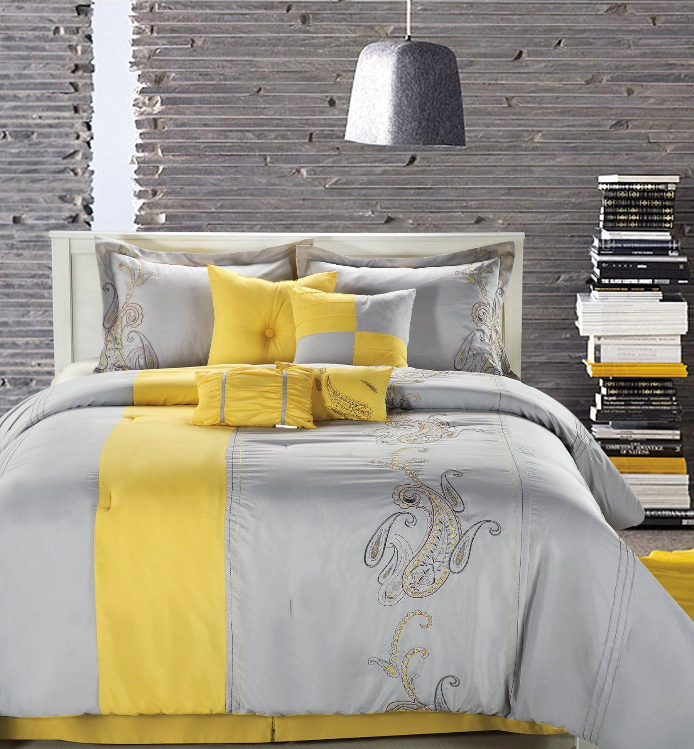 Amazon Chic Home Ann Harbor 8Piece Comforter Bedding Set Awesome Gray And Yellow Bedroom Designs Review