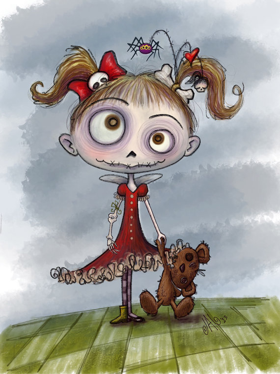 Melizzza Zombie Girl With Dead Teddy Bear Illustration For Your