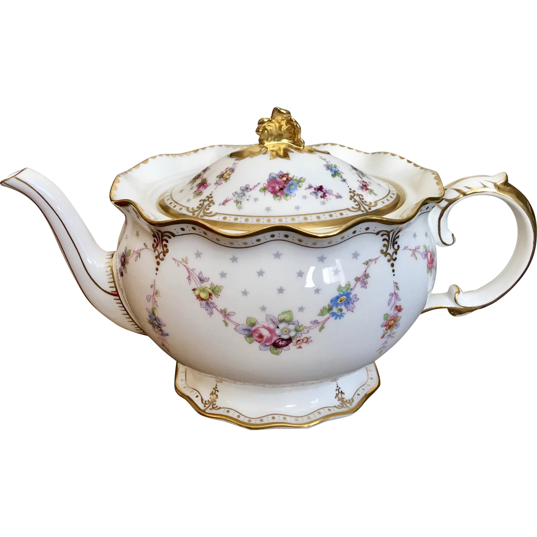 Large Royal Crown Derby Antoinette Teapot With Floral Garland English Bone China Teapot Tea Pots Vintage Tea Pots Bone China Teapots