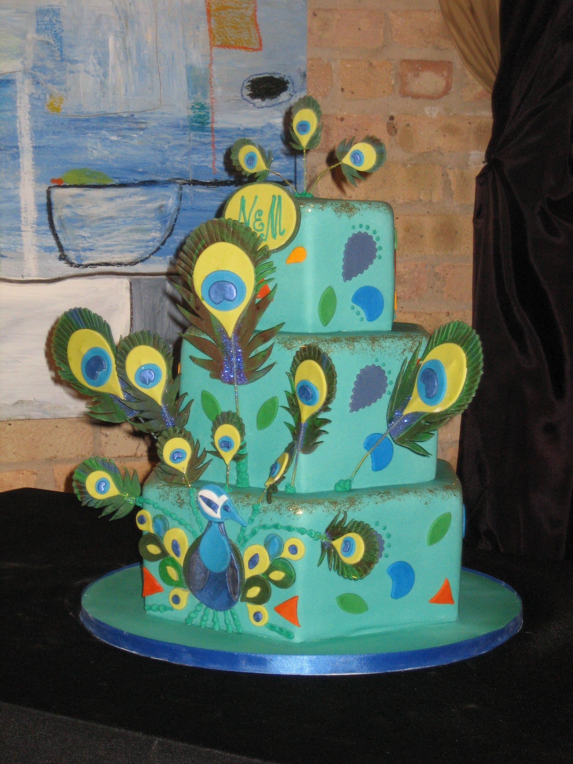 Amy Beck Cake Design - Chicago, IL - Peacock feathers birthday cake - #amybeckcakedesign