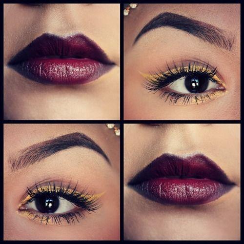 bold lip, bright eyes