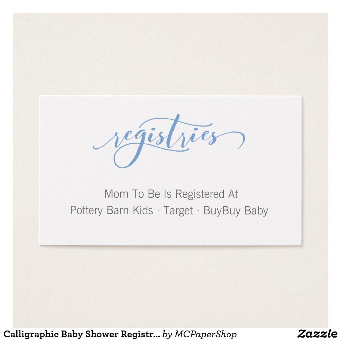 Calligraphic Baby Shower Registry Enclosure Card Zazzle