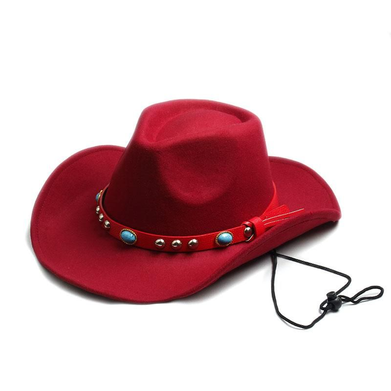 2b3d781b Men and Womens 100% Wool Felt Sombrero Cap- Western Cowboy Cowgirl Toca hat  with Leather Band