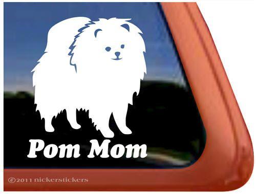 High Quality Pomeranian Vinyl Dog Window Decal Sticker Pom Mom