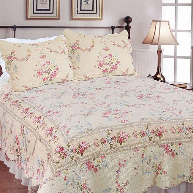 Beautiful Pink Cream Green Rose Beige Vintage Floral Quilt Set King Size Ebay Home Decor Bedding Victorian Bedroom Decor Victorian Bedroom
