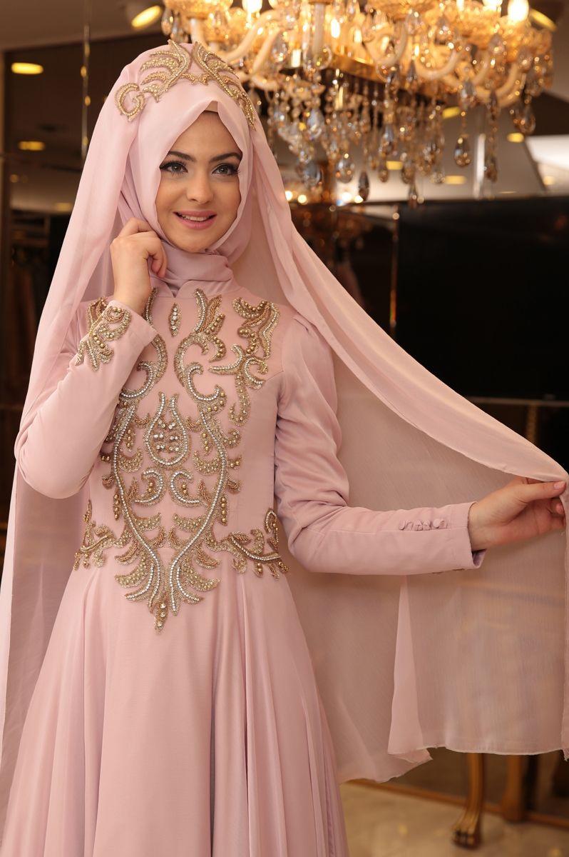 Pinar Sems Lale Abiye Elbise Pudra Ala Tesettur Tesettur Giyim Modasina Yon Veren Tasarimlar Elbise Giyim Islami Giyim