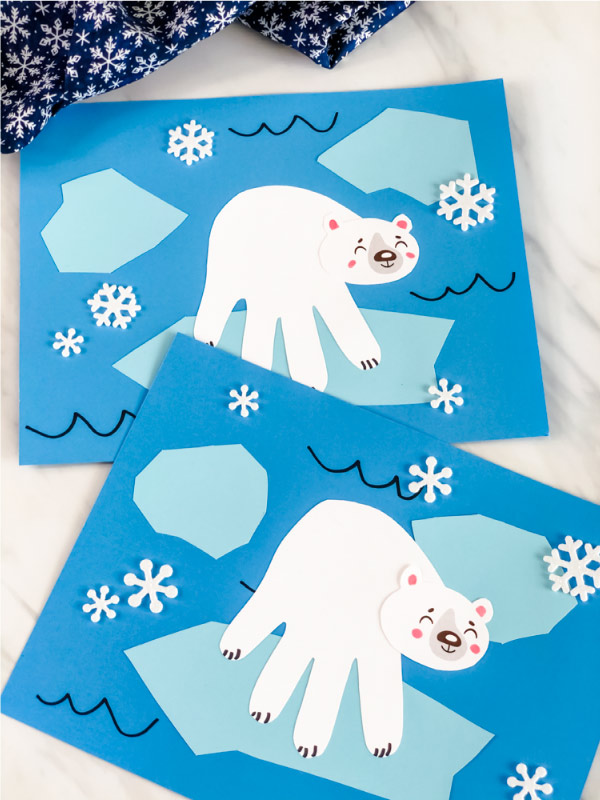 Searching for a fun paper craft animal for kids to make This handprint polar bear is cute and easy to make thanks to our free template Download todaysimpleeverydaymom