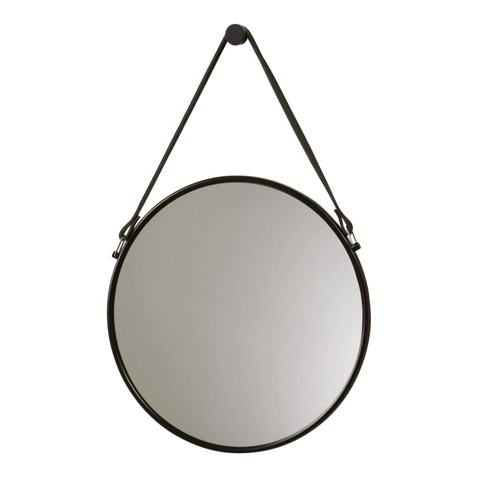 Runder Schwarzer Wandspiegel Mit Lederband Wandhalterung Spiegel Flurspiegel Dekospiegel Schwarz Dawelb Wandspiegel Rund Badezimmer Accessoires Spiegel