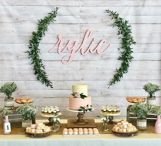 Rustic Wood And White Lace Baby Shower Banner Personalized Custom Party Backd...