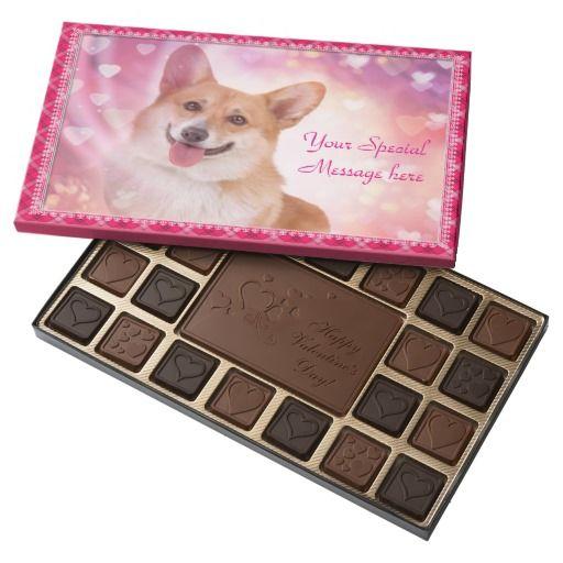 Customizable Happy Valentine's Day Corgi 45 Piece Box Of Chocolates